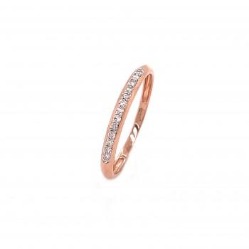 Auksinis žiedas juostelė su deimantais