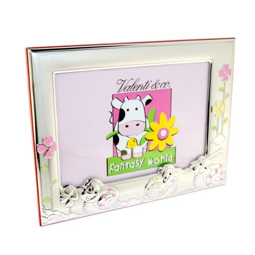 Vaikiškas rėmelis nuotraukai su rausvomis gėlytėmis